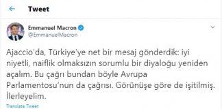 Macron Türkçe Mesaj Paylaştı