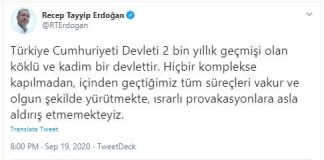 Türkçe Mesaja Erdoğan'dan Yanıt
