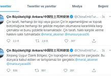 Çin Büyükelçiliği'nden Doğu Türkistan tehdidi